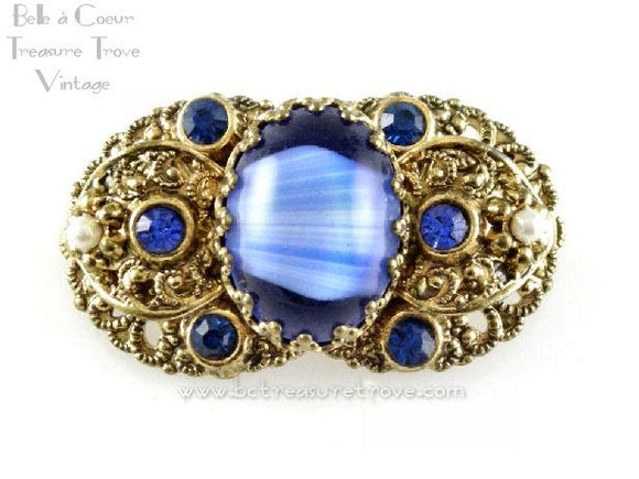 Blue Art Glass Goldtone Faux Repousse Brooch Signed Germany