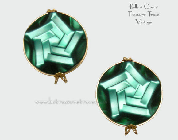Green Moonglow Lucite Swirl Star Castlecraft Earrings