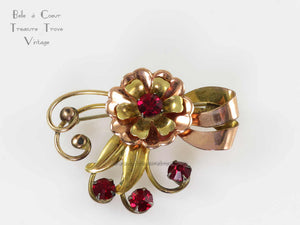 1940s Retro Rose Gold and Gold Fill Brooch with Red Stones Signed Harry Iskin