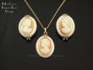 Hillcraft Cameo Necklace & Earrings Set