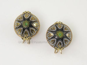 Hillcraft Earrings Small Black Damascene Look