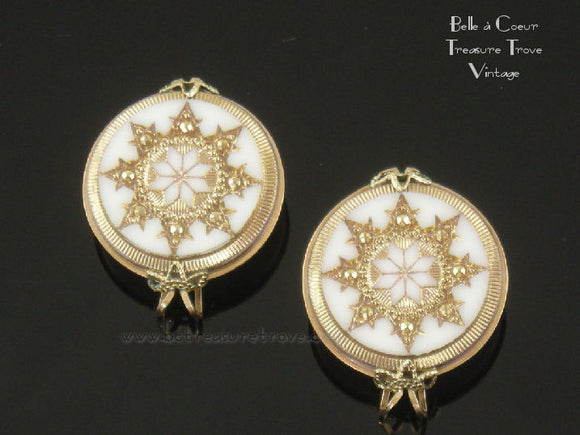 Hillcraft Earrings White Glass with Gold Snowflakes Vintage