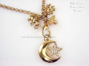 Joan Rivers Charm Necklace Elephant Clover Bee Moon & Star