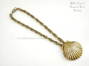 Joseff of Hollywood Russian Gold Scallop Shell Choker Necklace