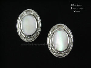 Judy Lee Imitation Mother of Pearl on Silvertone Earrings
