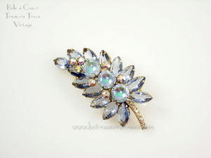 Juliana (D&E) Ice Blue Leaf with Scooped Out AB Coated Stones