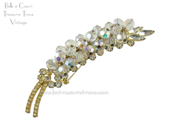 Juliana D&E Rhinestone & Crystal Bead Leaf Brooch