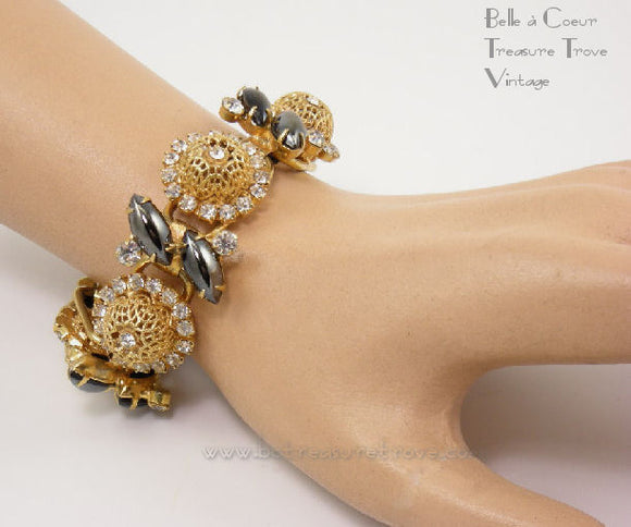 Juliana DeLizza & Elster Bracelet with Gold Filigree Beads & Black Hematite Navettes 5 Link