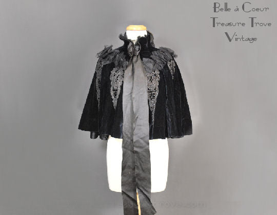 Late Victorian Black Velvet Cape with Beading and Netting 1890s