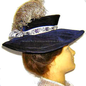 Deep Purple Velvet Antique Victorian Hat with Ostrich Plume Feather