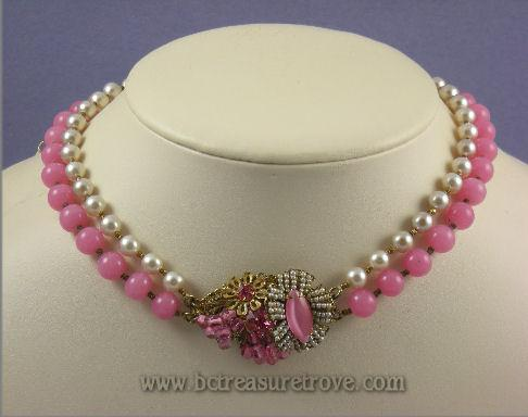 Miriam Haskell Pink Glass Faux Pearl Bead Choker Length Necklace