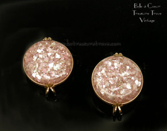 Pink Confetti Lucite Vintage Castlecraft Earrings