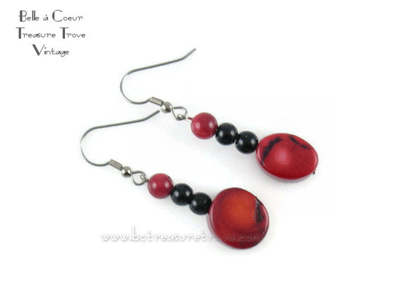 Red and Black Dyed Coral and Jet Black Glass Bead Handmade Dangle Earrings