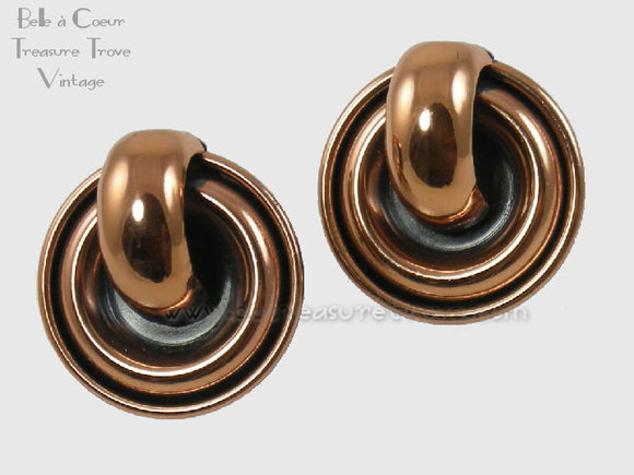 Vintage 1950s Copper Earrings Signed Renoir