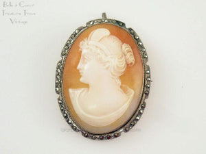 Shell Cameo Left Facing Woman with Marcasites Set in 800 Frame