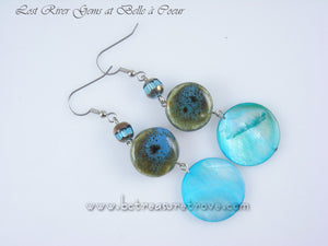 Handmade Dangle Earrings Turquoise Dyed Shell, Ceramic Beads, Glass Beads