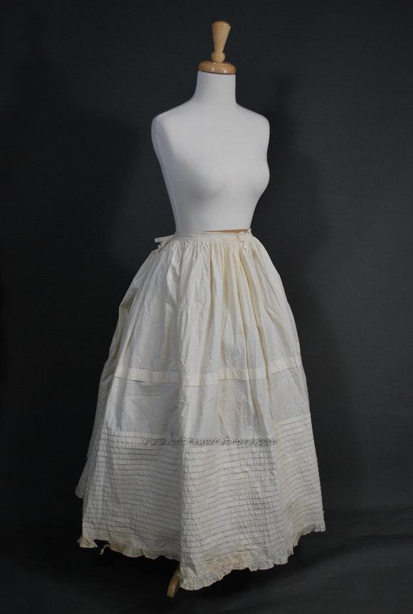 Original Victorian 1860s Civil War Era Tucked Petticoat with ID