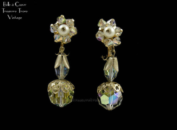 Vintage AB Crystal Dangle Earrings 60925