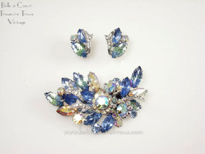 Vintage Coro Light Blue, Green, Crystal, AB Organic Leaf Brooch & Earrings