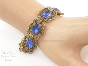 Vintage Filigree Bracelet (Probably Czech) with Blue Glass Stones