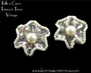 Vintage Vendome Earrings AB Cones and Faux Pearls Star Shape