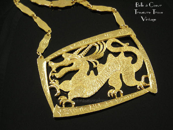 Water Dragon Pendant Necklace Signed LG (Louis Giusti)