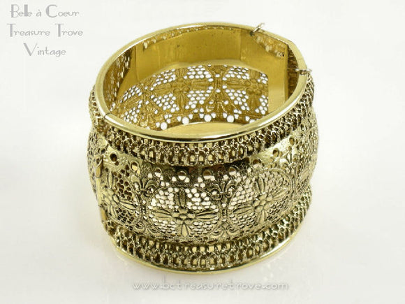 Whiting and Davis Goldtone Wide Filigree Cuff Bracelet Huge