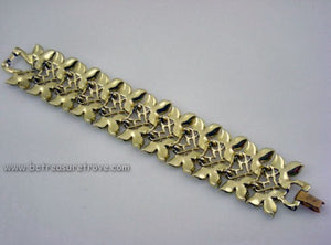 Wide Leaf Design Vintage Bracelet Signed Judy Lee - Gold and Silver Metal