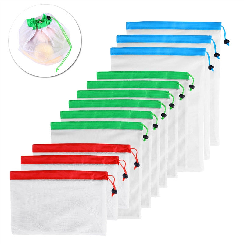 12pcs Reusable Mesh Produce Bags Washable Eco Friendly Bags for Grocery Shopping Storage Fruit  Vegetable Toys Three Large 12x17in  Six Medium 12x14in and Three Small 12x8in