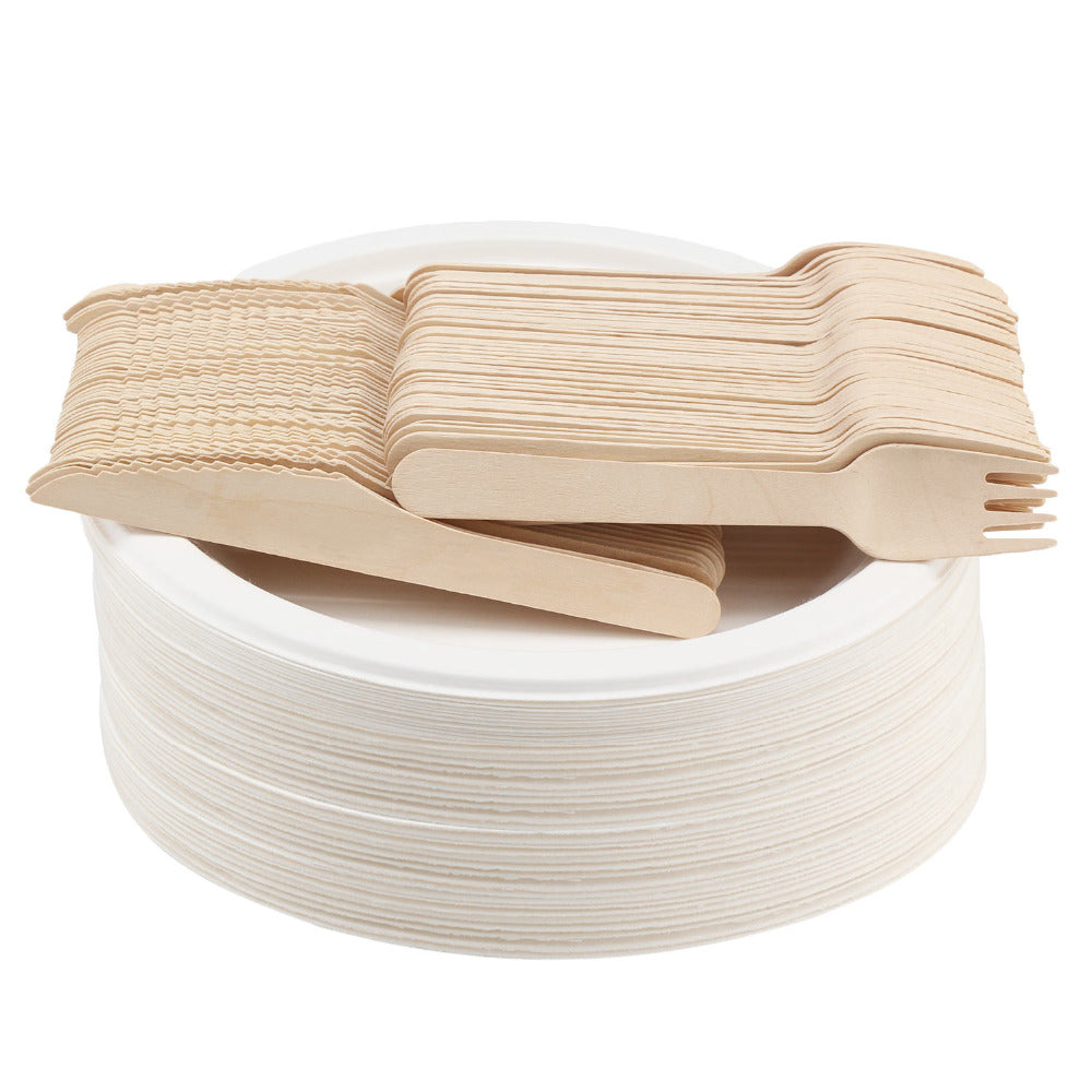 Biodegradable and Compostable Party Flatware Pack (150 pieces of wood knives and forks)