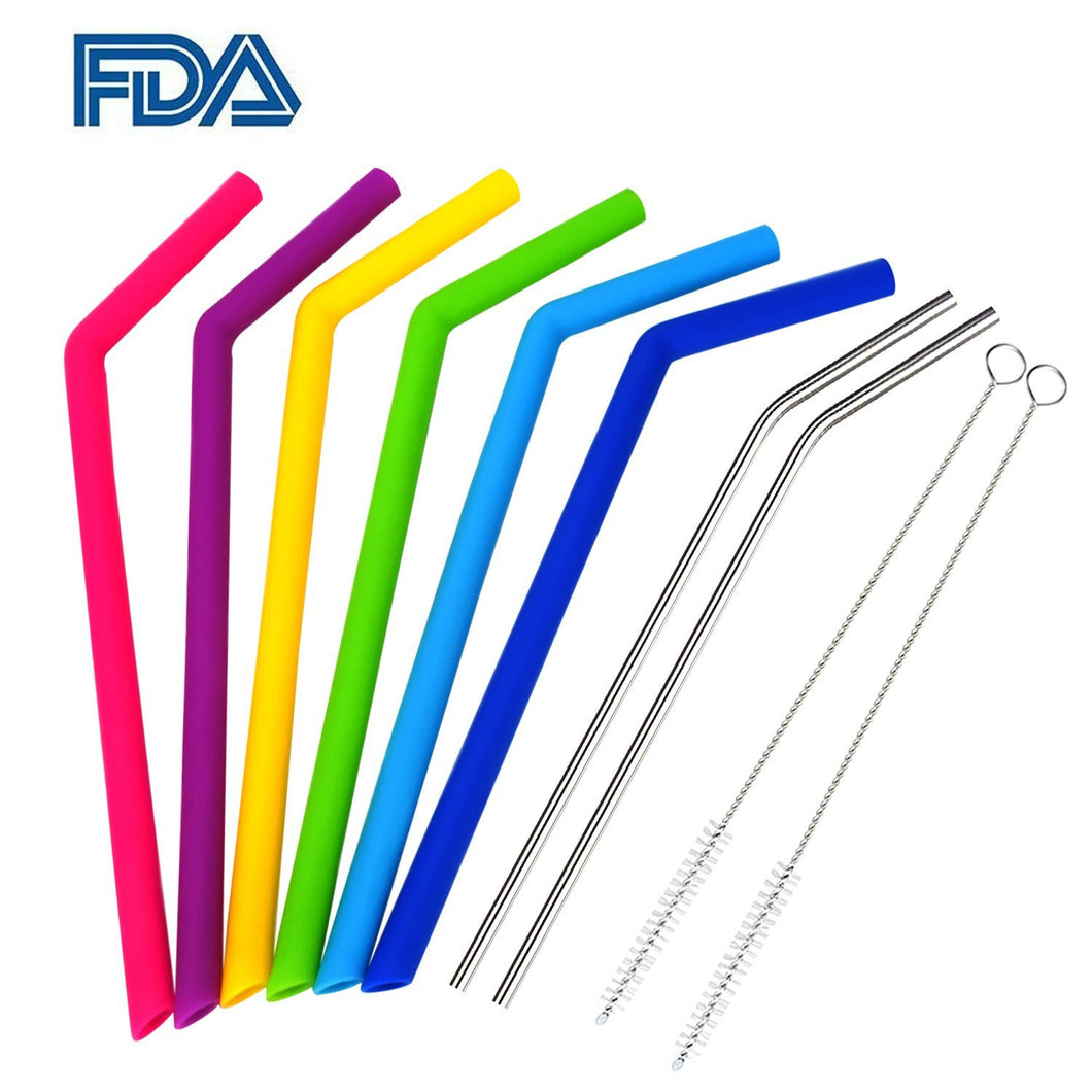 Reusable Straw Super Set for Power Slurpers: 6 Silicone Straws, 2 XL metal straws, 2 brushes