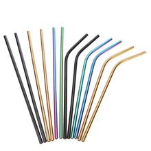 Colorful Stainless Steel Drinking Straw Pack (2 straws, 1 cleaning brush)