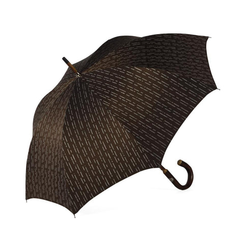 Ombrelli Handcrafted Umbrella with Wood Handle - Brown Broken Stripe