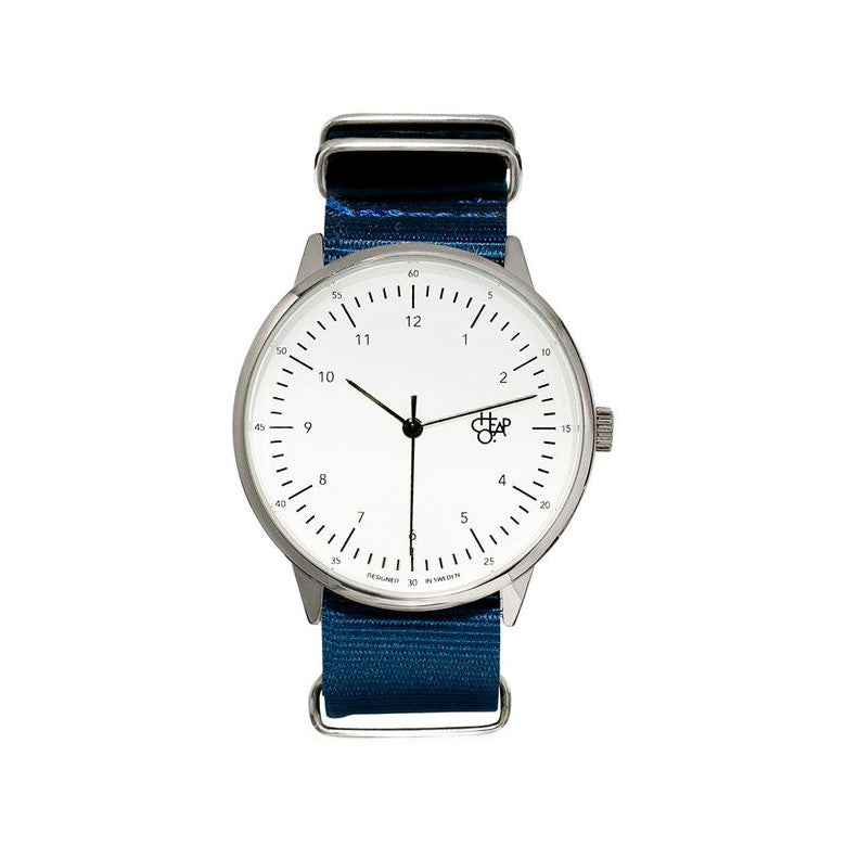 Cheapo Watch Harold Nylon Navy White Silver