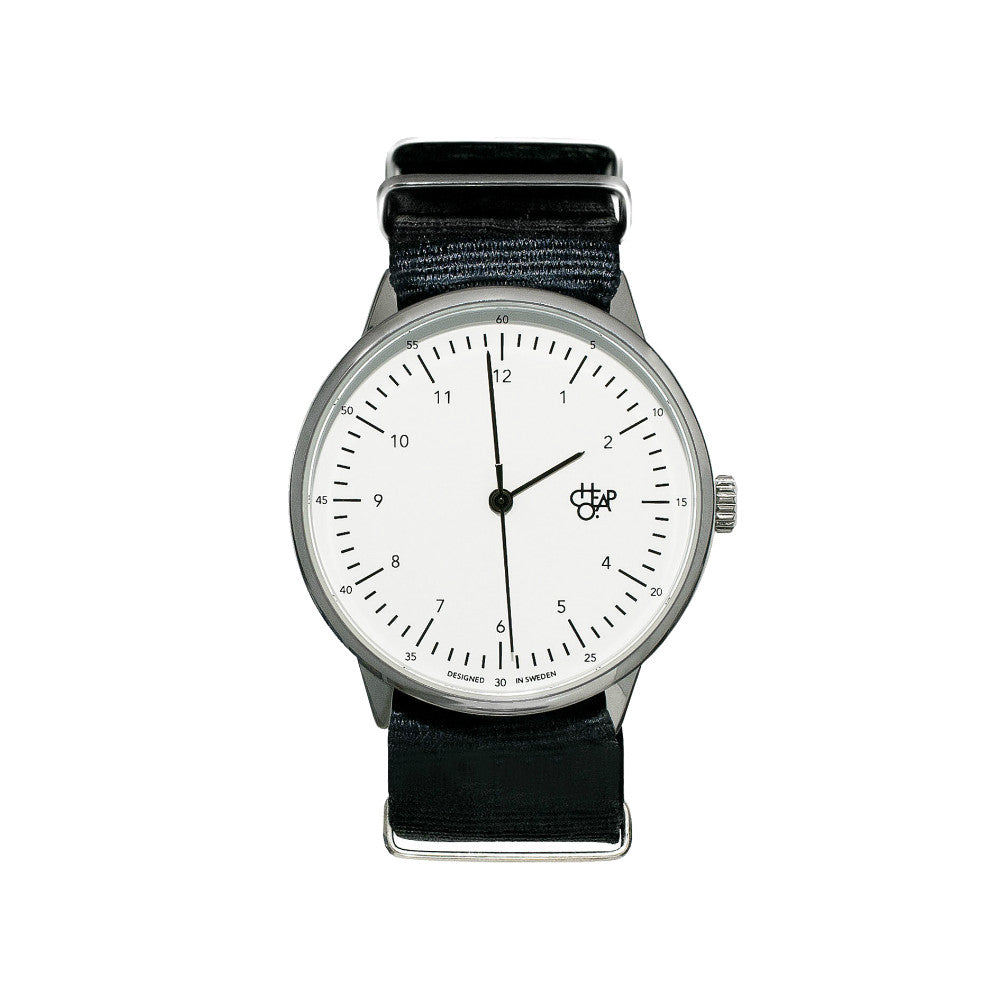 Cheapo Watch Harold Nylon Black White Silver