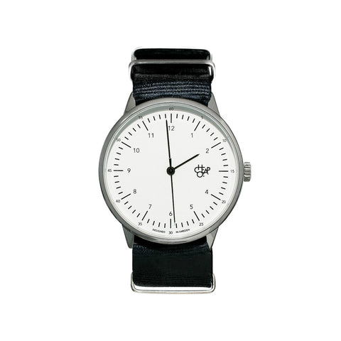 Cheapo Watch Harold Nylon - Black/White/Silver