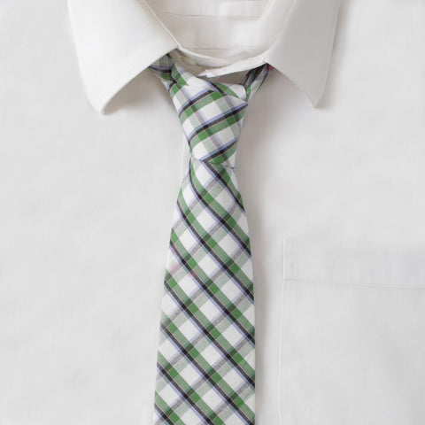 Cotton Green & White Plaid Tie