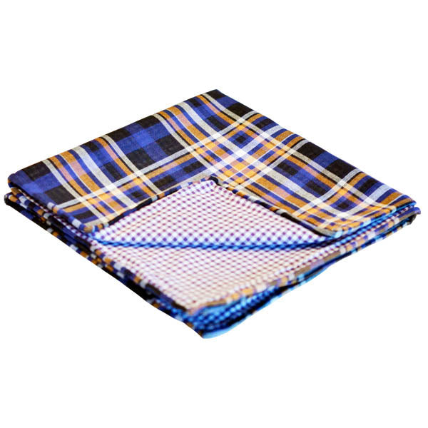 Indigo & Orange Plaid Reversible Pocket Square