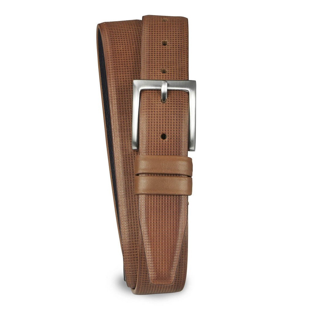 Grid Emboss Leather Belt - Tan