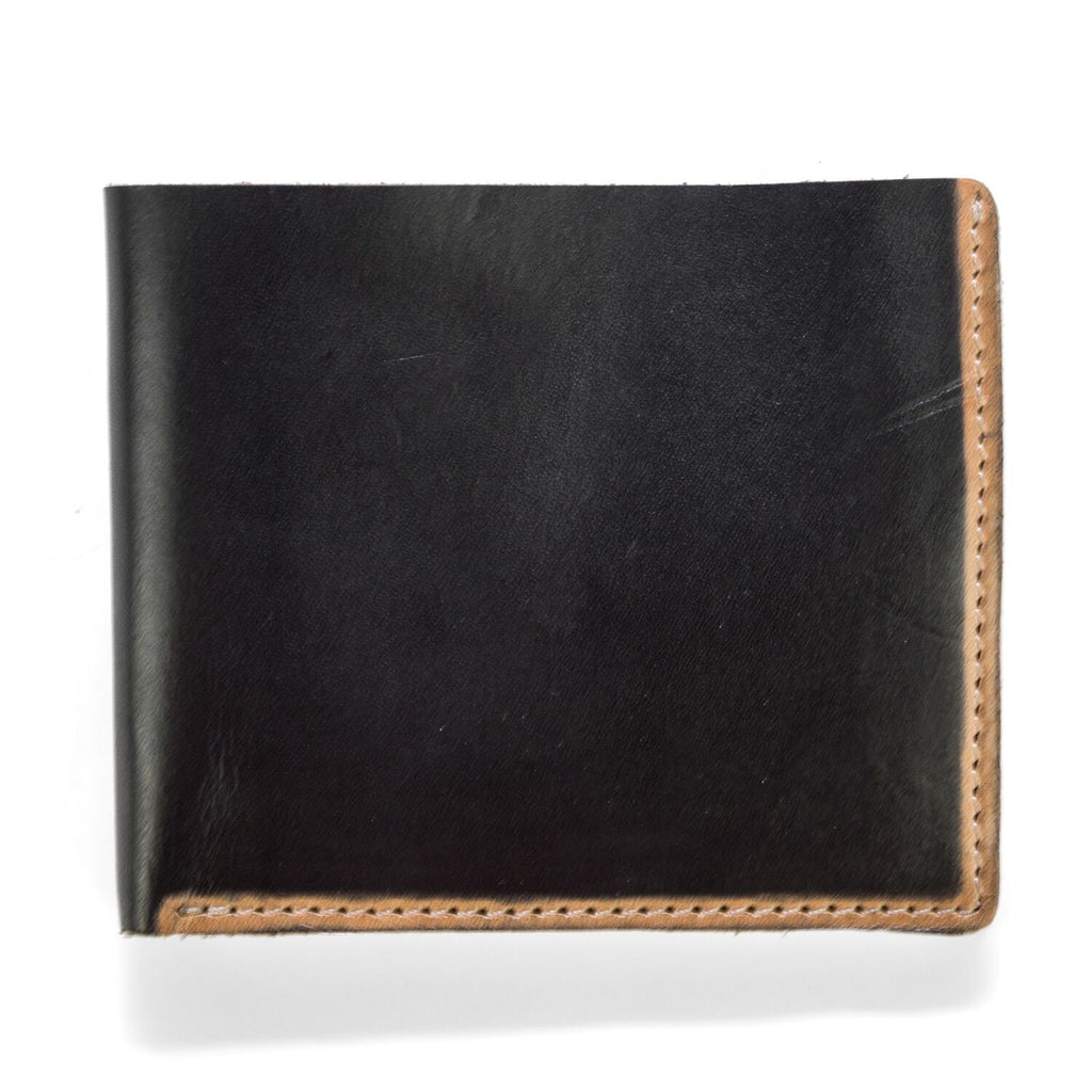 J. Fold Hand Stained Billfold Wallet - Black
