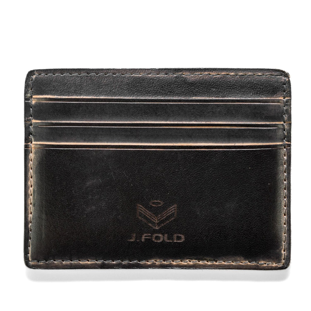 J. Fold Hand Stained Card Carrier Wallet - Black