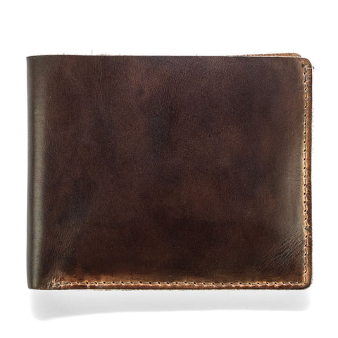 J. Fold Hand Stained Billfold Wallet - Brown