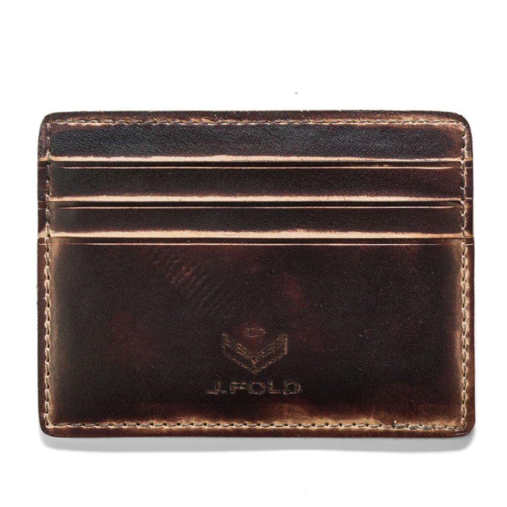J. Fold Hand Stained Card Carrier Wallet - Brown