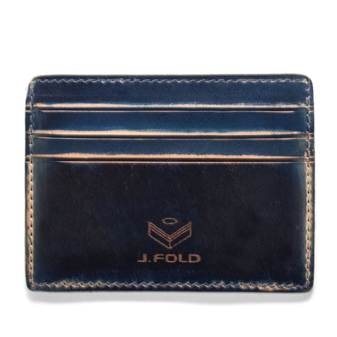 J. Fold Hand Stained Card Carrier Wallet - Navy
