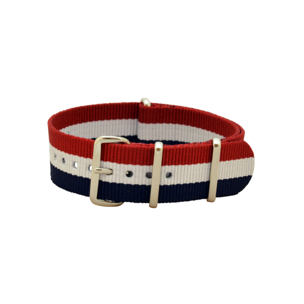 Military Watch Co. - Blue, White, & Red Interchangeable NATO Watch Strap