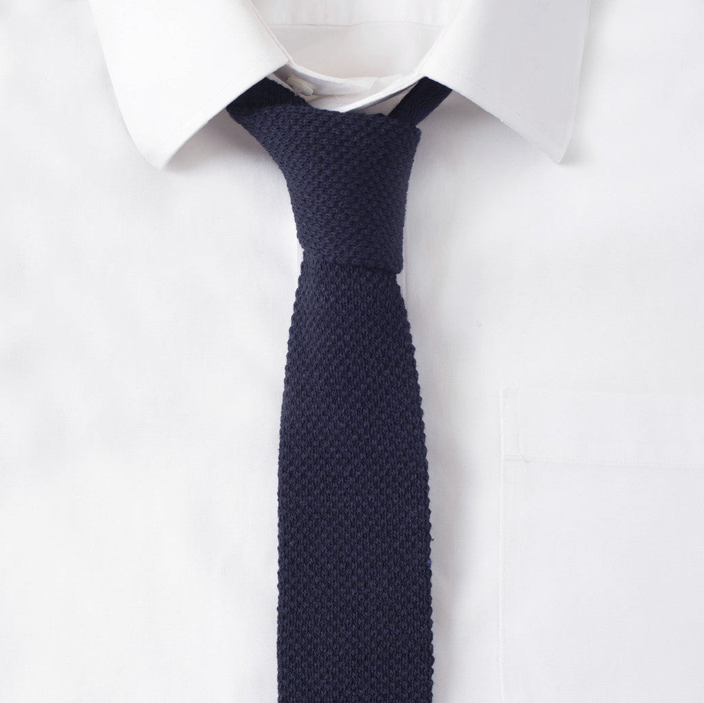 Knit Cotton Navy Tie