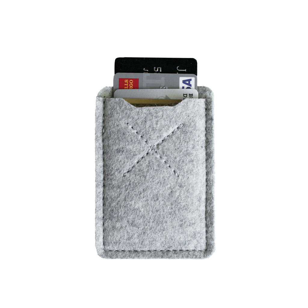 Old Calgary Organic Wool Oxford Card Sleeve Wallet - Concrete