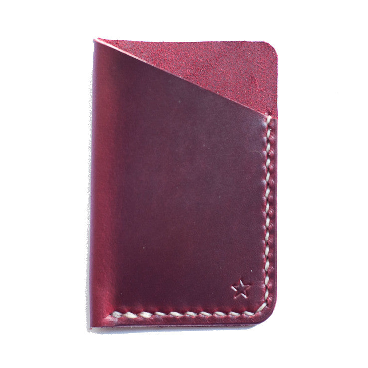 One Star Leather Minimalist Wallet - Burgundy