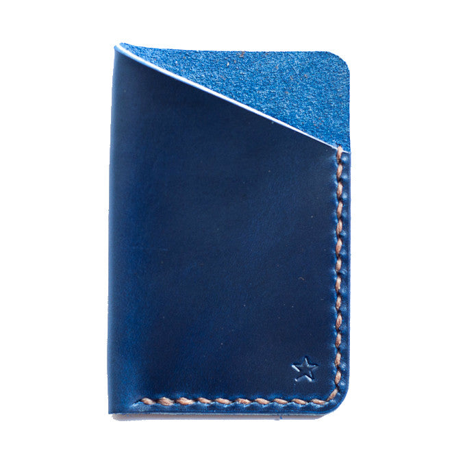 One Star Leather Minimalist Wallet - Ink Blue
