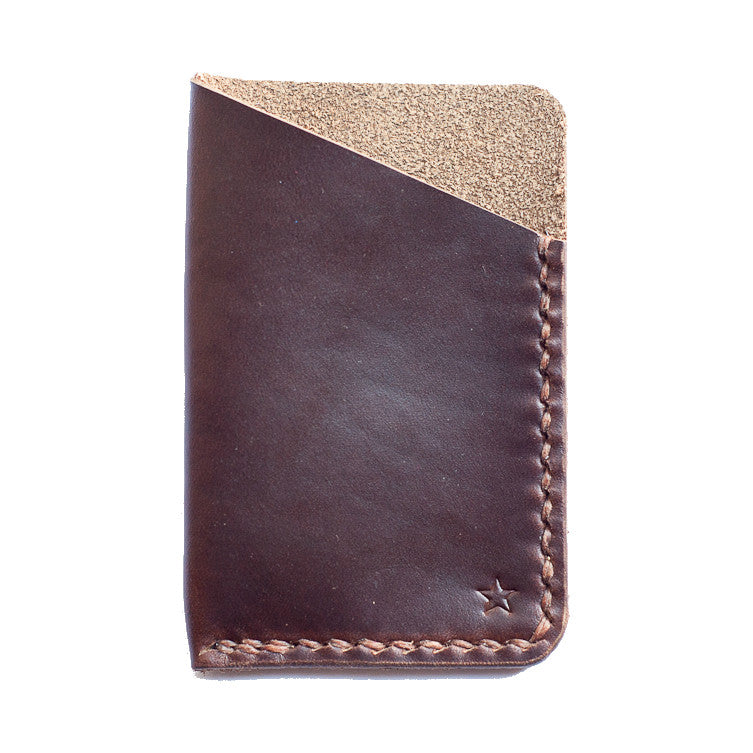One Star Leather Minimalist Wallet - Mahogany